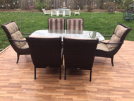 Hampton Bay glass table and 6 wicker chairs