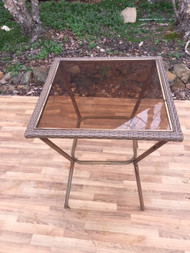 wicker and metal bar table