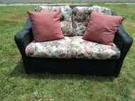 Antique Green Wicker Loveseat