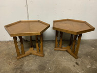 Pair of Drexel hexagon end tables