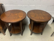 Pair round cherry end tables