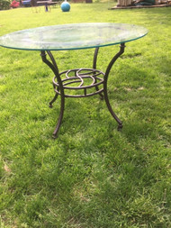 "42"" round glass bronze table"