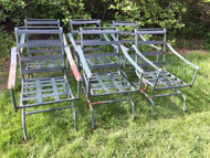 6 spring loaded metal patio chairs