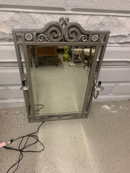 Lighted sconce wall mirror