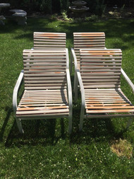 Set of four modern patio chairs