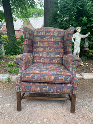 Library print wing back chair
