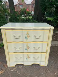 3 drawer white yellow dresser