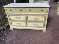 Vintage painted white and green 3 drawer dresser with mirror
