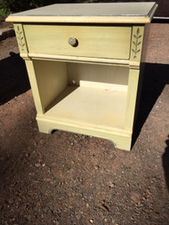 Vintage painted white and green night stand