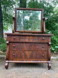 walnut empire dresser with mirror