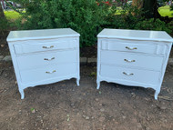 Pair of white 3 drawer french dressers