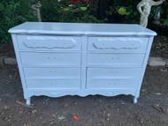 6 drawer gloss white French provincial dresser