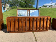 walnut modern 9  drawer dresser with mirror