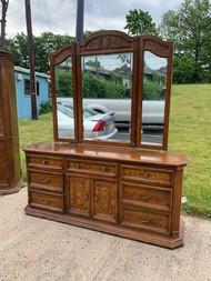 Walnut 9 drawer dresser and mirror with burl walnut inlays