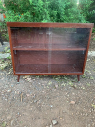 Mid-century modern Mahogany look sliding glass bookcase