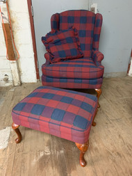 Plaid wing back chair and footstool