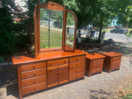 Thomasville impressions cherry bedroom dresser with mirror and two nightstands