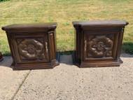 Pair of vintage dark oak nightstand