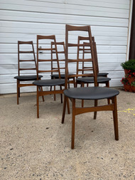 6 mid century modern walnut chairs