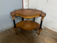 Antique burl walnut curved table