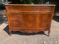 Antique John Stuart French burled walnut 3 drawer dresser