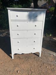Gloss White 5 drawer dresser