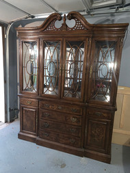 restored walnut china cabinet