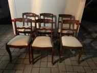 6 mahogany flower back chairs