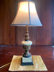 distressed brass and white table lamp