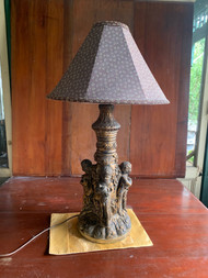 vintage French plaster Cherub lamp
