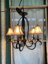 black iron 5 arm chandelier