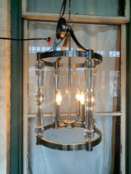 custom glass and brushed chrome chandelier