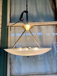 mid-century modern brass and glass chandelier