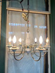 Brass and white porcelain chandelier