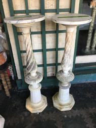 "Pair of 12"" x 39"" marble pedestals"