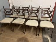 8 metal bronze chairs
