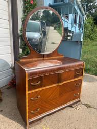 Art deco 3 drawer dresser with round mirror