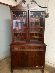 Flamed mahogany china cabinet