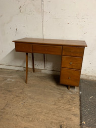 Walnut finished mid century modern pine desk