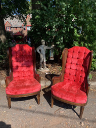 Pair red velvet caned wing back throne chairs