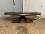 Vintage walnut and stone top coffee table