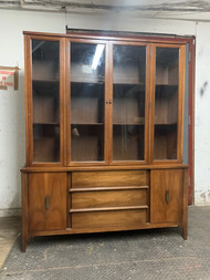 walnut mid-century modern china cabinet