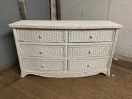 White wicker 6 drawer dresser