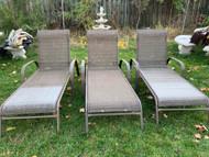 3 bronze patio loungers
