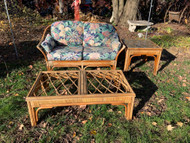 Vintage Rattan loveseat with coffee table and end table