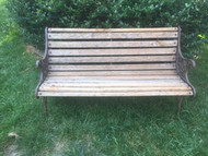 vintage Oak and iron park bench