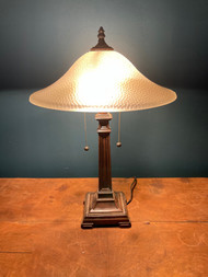 Mission style bronze and glass lamp