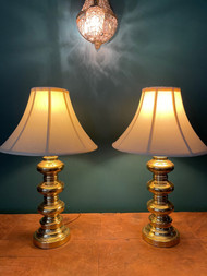 Pair of brass traditional style lamps