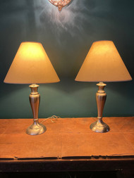Pair of Brushed nickel lamps