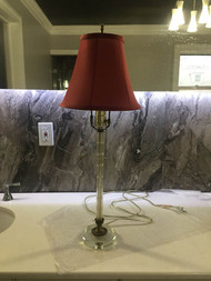 Art Deco cut glass lamp with shade